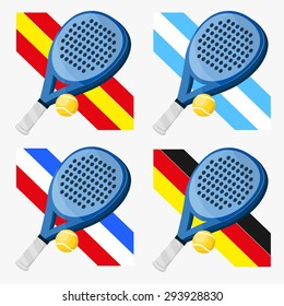 Paddle rackets with flags of countries