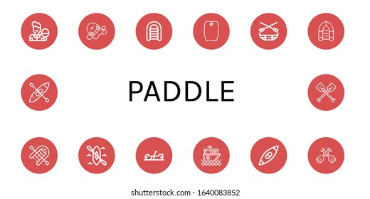 paddle simple icons set. Contains such icons as Table tennis, Pool kickboard, Inflatable boat, Bodyboard, Canoe, Kayak, Rescue boat, Paddles, can be used for web, mobile and logo