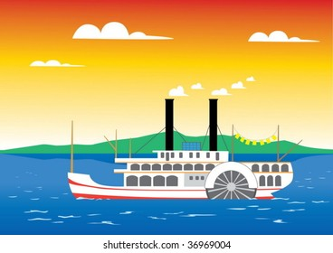 Paddle steamer sailing on the river