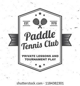 Paddle tennis club badge, emblem or sign. Vector illustration. Concept for shirt, print, stamp or tee. Vintage typography design with paddle tennis racket silhouette.