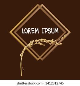 Paddy rice malt barley oats wheat. Template logo frame border. Double square concept design