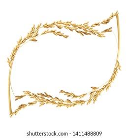 Paddy rice malt barley wheat. Leaf frame border design
