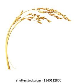 paddy rice malt wheat barley isolated design