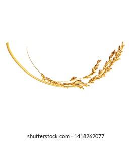 Paddy rice malt wheat oats barley grain isolated. Smile and happy character shape logo design.