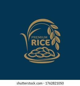 paddy rice premium organic natural product banner logo vector design