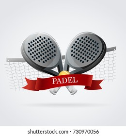 Padel logo racket. Black and white and red: Two padel rackets with red bow and yellow ball. With net of background.