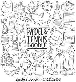 Padel and Tennis Sport. Traditional Doodle Icons. Sketch Hand Made Design Vector.