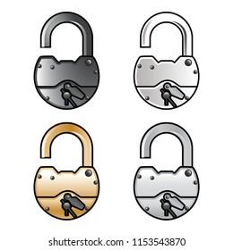 padlock, art, vector;