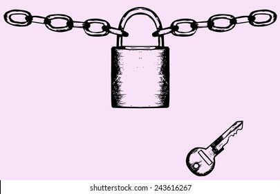 Padlock with chain and key, doodle style isolated on pink background