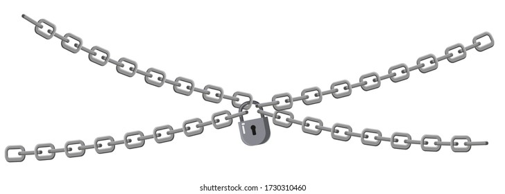 Padlock and chains isolated on white background. Concept of protection of information, property, inaccessibility. Symbol security design. Vector isolated illustration
