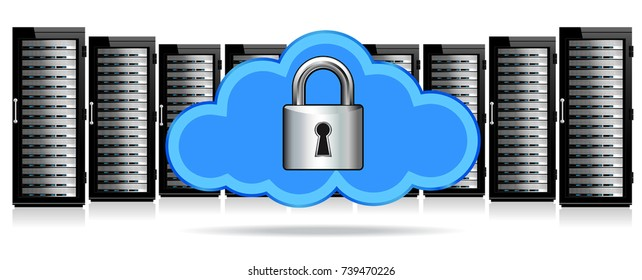 Padlock Cloud Servers Secure Protection, Network Security - Information technology conceptual image