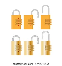 Padlock with code. Padlock for doors, safes and suitcases. Vector.