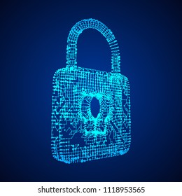 Padlock cyber security concept. Lock symbol from lines and dots, point connecting network. Wireframe low poly mesh vector illustration