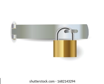 Padlock and hasp isolated on white background illustration vector