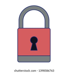 padlock icon cartoon blue lines