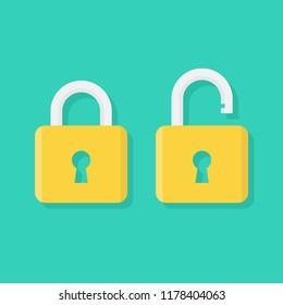 Padlock icon flat, locked and unlocked, flat design vector illustration