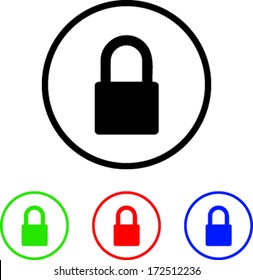 Padlock Icon Illustration with Four Color Variations