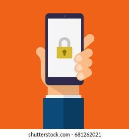Padlock icon on smartphone screen. Hand holds the smartphone. Modern Flat design illustration.