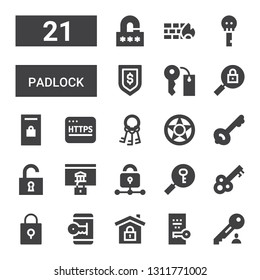 padlock icon set. Collection of 21 filled padlock icons included Key, Secure, Unlocked, Padlock, Password, Lock, Unlock, Data protection, Keys, Https, Locker, Firewall