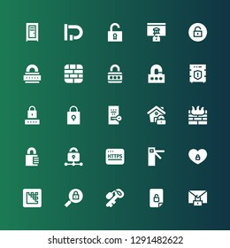 padlock icon set. Collection of 25 filled padlock icons included Secure, Unlocked, Key, Padlock, Media encoder, Access, Https, Lock, Firewall, Password, Data protection, Unlock