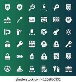 padlock icon set. Collection of 36 filled padlock icons included Firewall, Keys, Password, Padlock, Data protection, Security, Secure, Lock, Key, Antivirus, Access, Unlock, Lockers