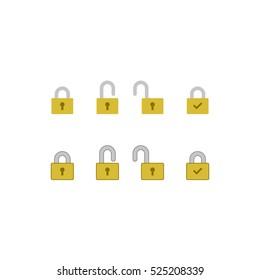 Padlock icon set. Modern Flat Icons.