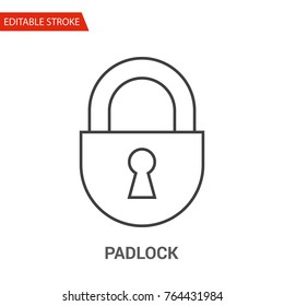 Padlock Icon. Thin Line Vector Illustration. Adjust stroke weight - Expand to any Size - Easy Change Colour - Editable Stroke - Pixel Perfect