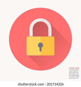 Padlock icon , Vector illustration flat design with long shadow