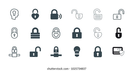 Padlock icons. set of 18 editable filled and outline padlock icons: lock, opened lock, keyhole in head, card protection