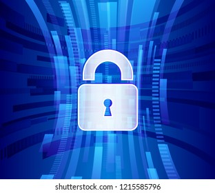 Padlock for internet protection. Computer data defense. Global network security. Abstract digital business background.