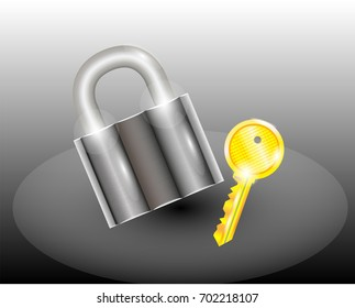 A padlock with a key, pictured on a gradient phonemic and white color