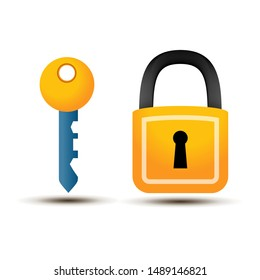 Padlock and key with shadow on a white background
