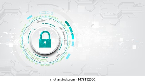 Padlock With Keyhole icon in. personal data security Illustrates cyber data or information privacy idea. abstract hi speed internet technology.
