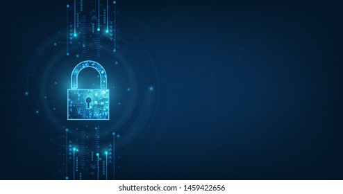 Padlock With Keyhole icon in personal data security Illustrates cyber data or information privacy idea. blue color abstract hi speed internet technology.