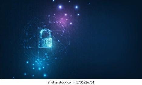 個人データセキュリティに鍵穴と錠前アイコンは、サイバーデータや情報のプライバシーに関する考え方を示しています。青い色の抽象的なハイスピードのインターネットテクノロジ。