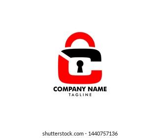 Padlock Letter LC Logo Template