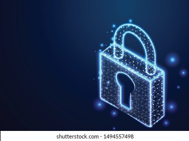 padlock, lock security concept. Abstract Wireframe Low Poly Designs. Vector illustration