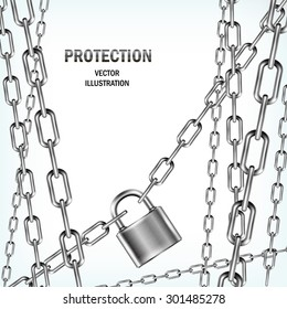 Padlock and many chains isolated on white background. Concept of protection. Security design. Vector realistic illustration.