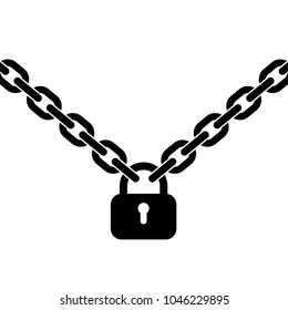 Padlock and metal chain. Icon. Concept of protection. Vector illustration