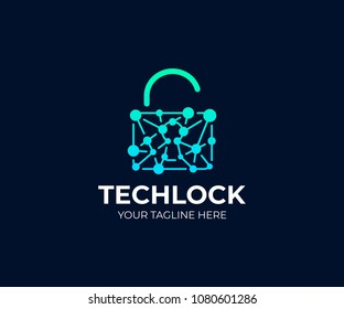 Padlock and network chain logo template. Open lock and circuit vector design. Cyber security logotype
