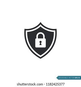 padlock shield pictogram icon logo template