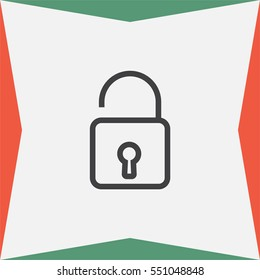 Padlock sign line vector icon. Open lock sign icon. Protection sign. Password symbol. Unlock symbol.