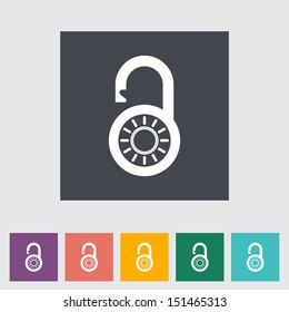 Padlock. Single flat icon. Vector illustration.