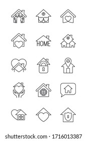 padlock and stay home icon set over white background, line style, vector illustration
