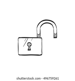 Padlock unlocked icon in doodle sketch lines. Safety, protection