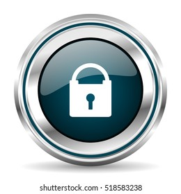 Padlock vector icon. Chrome border round web button. Silver metallic pushbutton.
