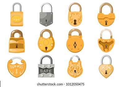 Padlock vector lock for safety and security protection with locked secure mechanism locking system illustration set isolated on white background