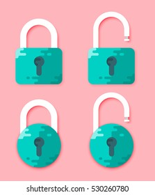 Padlocks Shapes Illustration. Lock Open and Lock Closed Vector Icons Isolated on Pink Background. Green Padlocks. Flat Cartoon Design