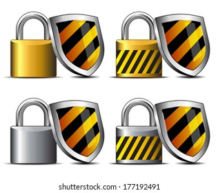 Padlocks with Shield - safeguard your transaction protect -  Keeping you Safe - concept internet protection