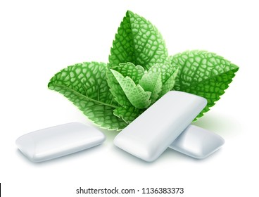 Pads of bubble gum with mint flavour. Green leaves spearmint for fresh breathing. Chewing gums for healthy teeth and dental hygiene. Refreshing sweet candy, isolated on white background. EPS10 vector.
